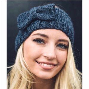Dark Gray Bow Sweater Headband